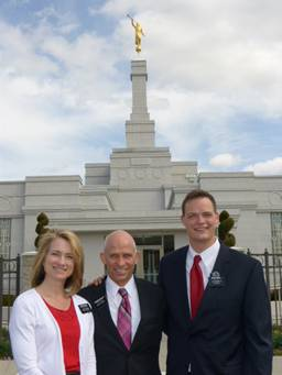 Elder Groll at temple with the Mullens