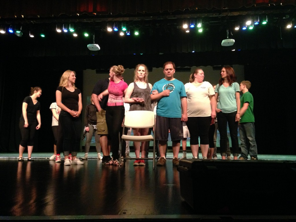 "The cast of ""A Father's Day"" rehearses for opening night at Cottonwood High School in Murray, Utah."