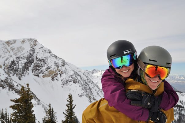 Taylor and Brenda Richards on the slopes at Snowbird.